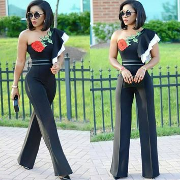 One Shoulder Embroidery Flower Long Wide Leg Jumpsuits