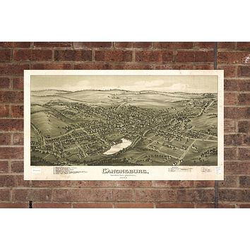 Vintage Canonsburg Print, Aerial Canonsburg Photo, Vintage Canonsburg PA Pic, Old Canonsburg Photo, Canonsburg Pennsylvania Poster, 1897