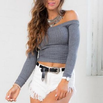 Slim Word Shoulder Knit Shirt Blouse Tops