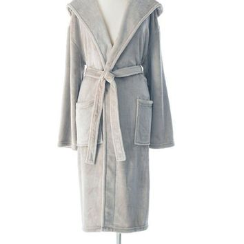 Selke Fleece Hooded Robe | Pear Grey