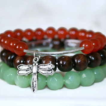Stack Bracelets Agate Bracelet Green Glass Bracelet Wood Bracelet Bohemian Jewelry Nature Inspired Stackable Bracelets Bracelet Set