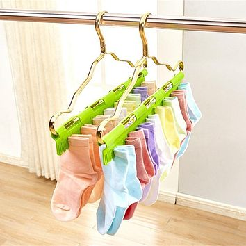 Socks Pegs Clothes Hanger Storage Clips Clamps Green Laundry Plastic 40*6cm Anti Skid Windproof 2 in 1 Multifunctional Rack