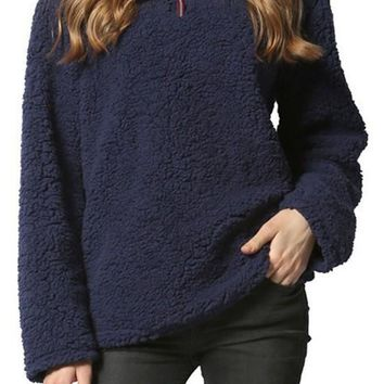 Navy Blue Zipper Teddy Turndown Collar Long Sleeve Sweatshirt
