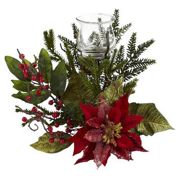 nearly natural Poinsettia Christmas Candelabrum