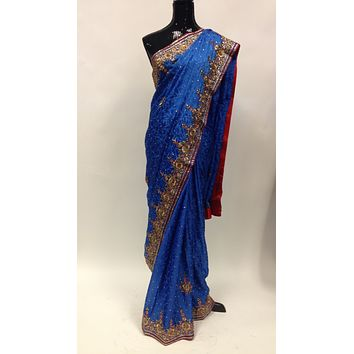 Pure Crepe Silk Hand Embroidery Saree - Blue