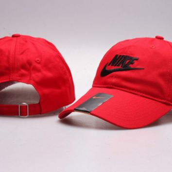 Red Nike Letter Print Baseball Cotton Cap Hat