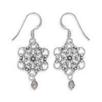 Filigree Flower and Glass Bead Drop Earrings