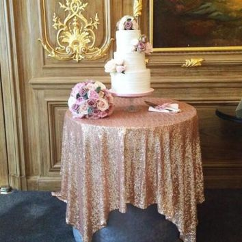 Sequin Table Overlay | Rose Gold Sequin Table Linens | Rose Gold