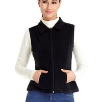 Black Zip-Up Collared Fleece Vest