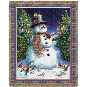 Plaid Snowman Christmas Afghan Throw Blanket