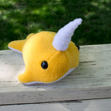 Narwhal Plush in Golden Yellow - Large
