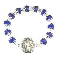 10mm Blue Capped Glass Beads St. Benedict Stretch Bracelet.