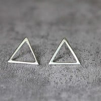 Geometric Triangle Stud Earrings, Sterling Silver Triangle Earrings, Modern Earrings, Geometric Earrings, Triangle Studs, Triangle Jewelry