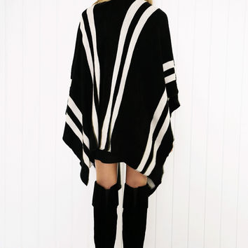 AMARIS STRIPED PONCHO CAPE