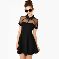 2016 Summer Dress Women Short Sleeve Peter Pan Collar Above Knee Mini Dress Solid Color Mesh Patchwork Casual Dress