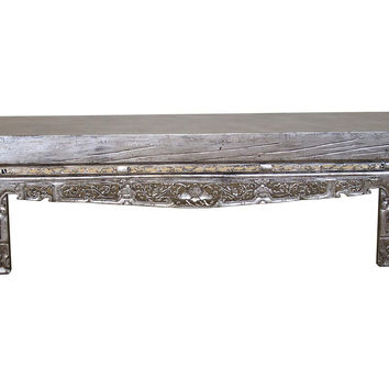 "Madera Home, Camilla 79"" Carved Opium Bench, Gray, Entryway Bench"