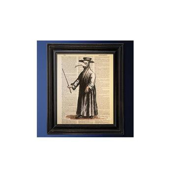 Plague Doctor, Historical Medical Art, Dictionary Art Print, Vintage Antique Book Page, Printed on Dictionary Paper, Unique Gift, Goth Decor