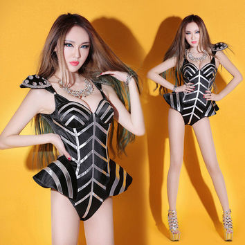 girl black bodysuit singer dress dancer jumpsuit show nightclub  costume pads sexy female singer dj twirled clothing jazz dance