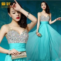 Promotion shine New 2014 hot&sexy Ready To Ship Top Quality v neck sleeveless Formal prom Dress long with crystal Under $100-in Prom Dresses from Apparel & Accessories on Aliexpress.com