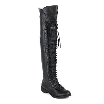 Travis 05 Women Military Lace Up Thigh High Combat Boot Black