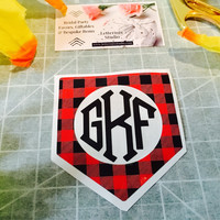 Buffalo Plaid Pocket Monogram decal, Adhesive vinyl monogram decal, Holiday gift ideas