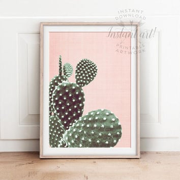 Cactus art PRINTABLE art,cactus print,pink and green,minimalist art,modern art,cacti print,cactus decor,nature print,neutral print