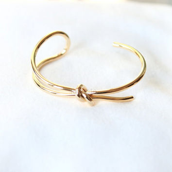 Knot Bangle / Love Knot bracelet, gold and silver