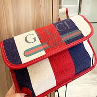GUCCI Hot Sale Women Men Stripe Canvas Waist Bag Crossbody Satchel Shoulder Bag