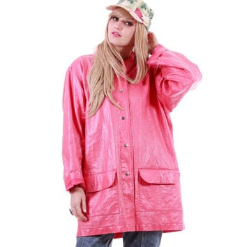 Pink PVC Denim Look Shiny Coat Raincoat Hipster Winter 90s Vintage Plus Size Clothing Womens Size 2X