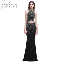 Babyonline Gorgeous Hollow Out Black Mermaid Prom Dresses 2017 Sexy Backless Formal Dress With Pearls Evening Party