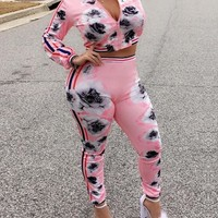 Leisure round neck printed pink polyester two piece pants set