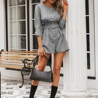 Simplee Solid Button Detail Belted Romper