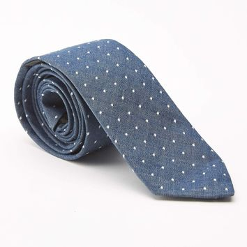Blue Chambray with Polka Dots Cotton Tie