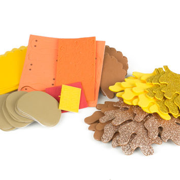 Thanksgiving Themed Foam Activity Set With Autumn Leaves and Build-It-Yourself Turkeys