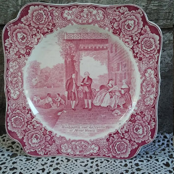 "Red Square Plate, Crown Ducal Bristol Colonial Times, Transferware Plate, 8 3/8"",  ""Washington and Lafayette"", English Memorial Plate"