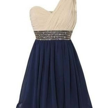 Onlyudress new arrivals 2014 one shoulder short chiffon beading royal blue skirt homecoming dresses / wedding party dresses S091 = 1956760836