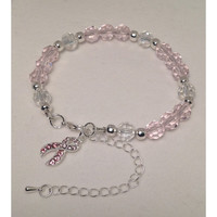Handmade Cancer Awareness/Pink Ribbon/Awareness Jewelry/Breast Cancer/Cancer Ribbon Awareness/Crystal Beaded Charm Bracelet