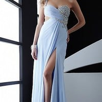 One Shoulder Sky Blue Prom Dress Jasz