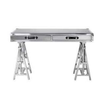 Flight Silver Metal and Glass Writing Desk | Overstock.com Shopping - The Best Deals on Desks