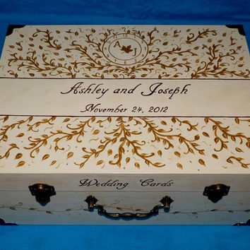 Custom Decorative Painted Wedding Suitcase Card Box Wooden Wedding Invitation Trunk Paris French Chic Personalized Gold Filigree Leaves Gift
