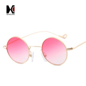 SHAUNA Small Size Fashion Women Round Sunglasses Vintage Men Green Gradient Lens Glasses