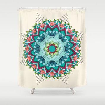 Teal and Coral Mandala Shower Curtain -  Soutwest flower geometric mandala fabric, bathroom