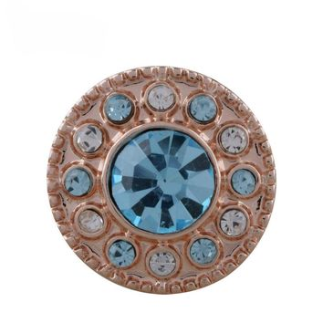 "Snap Charm Rose Gold Mini Turquoise Stone Crystal Border 12mm 1/2"" Diameter Fits Ginger Snaps"