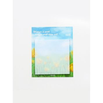 Flower Print Sticky Memo Pad 30sheets