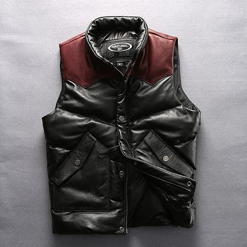 2017 HARLEY ANGEL fashion leather vest men thick cowskin leather down vest patchwork warm winter leather coat male