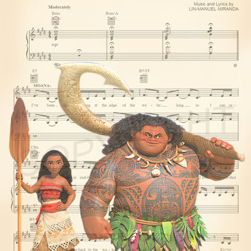 Moana and Maui Sheet Music Art Print