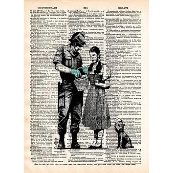 BANKSY CHOOSE YOUR WEAPON ART PRINT ON OLD ANTIQUE BOOK PAGE