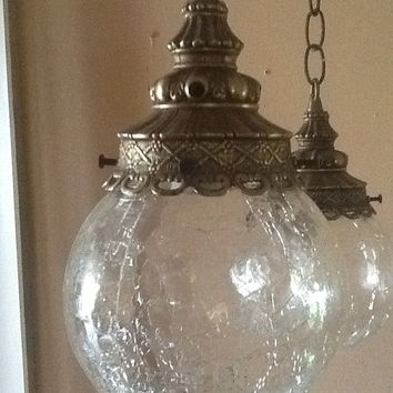 Antique Vintage Hanging Light Fixture 2 Cracked Glass Globes 1930s