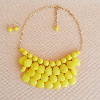 New fashion Jewelry Yellow bubble bib statement beaded teardrop necklace and earring set, bridesmaid wedding party gift necklace