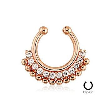 Rose-Tone Fake Septum Clicker Clip On Non Piercing Nose Ring Hoop Cartilage Tribal Fan 3/8""
